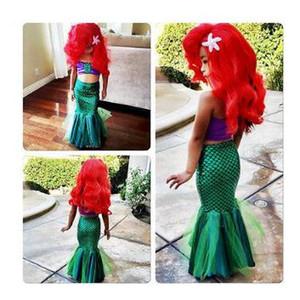 2019 la pequeña princesa Ariel Cosplay del vestido de los cabritos del traje de vestido verde muchacha de lujo