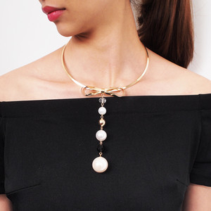 Bowknot Alloy Torques Statement Choker Necklaces Charm Simulated Pearl Long Pendants Necklace For Women Jewelry