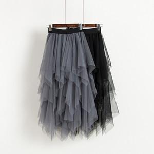 Qooth Nueva Primavera Verano Femenino 2019 Voile Faldas Color sólido de las mujeres Cintura Elástica Irregular Malla Falda Plisada Negro GreyQH1772