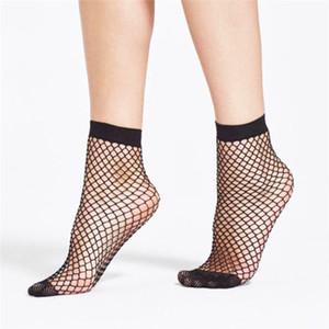1 pares de moda de Mulheres Ruffle meias mulheres Fishnet tornozelo Meia malha Lace Fish Net meias curtas