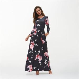 Женская Bohemia цветочные платья с длинным рукавом Crew Neck Весна Осень Платья женские Повседневная одежда