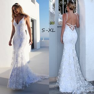 Women's Elegant Sexy Backless Sleeveless White Gown Bridesmaids Dresses Lace Long Maxi Evening Dress Party Dress S-XL