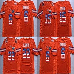 Ucuz Erkek Özel Florida Gators 6 Oriskel 15 Tebow 22 E. Smith Turuncu Dikişli Logolar En Kaliteli ABD Bayrağı Kolej Futbol Formalar