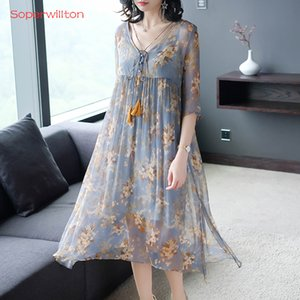 Soperwillton Plus Size Casual Women Dress Elegant Loose Knee-Length Summer Dresses Thin Chiffon Printing V-Neck Fake Two Pieces T200623