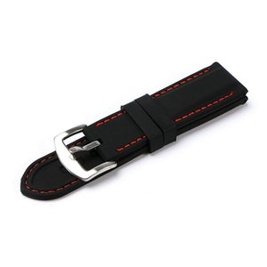 Waterproof Universal 20mm 22mm 24mm Strap Watch Accs Watchbands Watch Band for Tag Black Diving Silicone Rubber Holes Band Strap