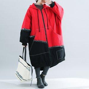 High Quality Women Parkas Women Contton Denim Patchwork Long Coat Ladies Warm Thicken Cotton Padded Oversized Outerwear