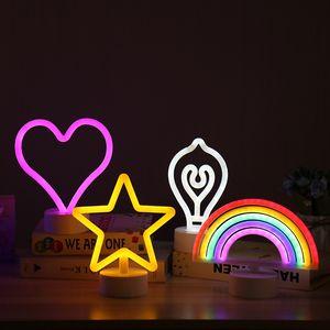 Neon Rainbow Aydınlık Gece Ampul Pentagram Kalp LED Neon Burcu Gece Lambası Harf Rüya Dekoratif Işıklar