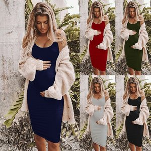 2020 Summer Women's Maternity dresses Spaghetti Strap Tank Dress Black Sleeveless pregnancy dress Casual pregnant women
