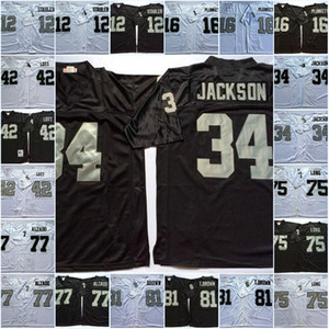 Mens NCAA Ken Stabler Jim Plunkett Bo JACKSON Jersey #42 Ronnie Lott 75 Howie Long 77 Lyle Alzado 81 Tim Brown Vintage Football Jersey