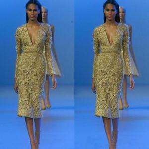 2020 Elie Saab té de longitud vestidos de brillantes vestidos de noche de encaje mangas largas coctel cortos de las lentejuelas apliques Prom Vestidos