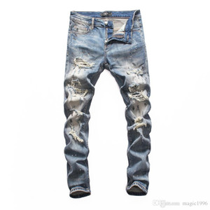 2019 New Jeans denim straight biker skinny jeans Casual Trousers Cowboy Famous Brand Zipper Designer Hot Sale Mens Designer Jeans 001