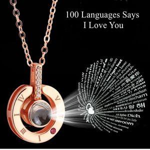 Alentines günü hediye kız arkadaşı için 100 dil diyor Seni Seviyorum projeksiyon Kolye Sevgililer Günü hediye mevcut