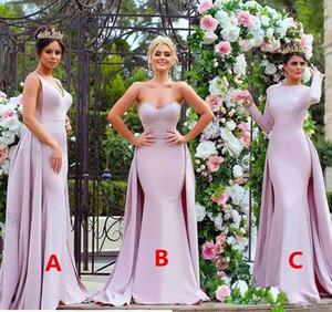 Sexy Strapless elegante Lace Appliqued longos vestidos da dama-de-rosa suave cetim manga comprida de convidados do casamento vestido da dama de honra Vestidos