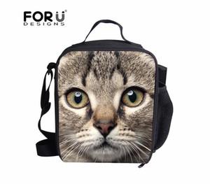 FORUDESIGNS Дети Bento Lunch Bag 3D Cat Dog Cooler Изолированные сумки обед для женщин Термическая сумка Lunchbox пикника Сумка Tote