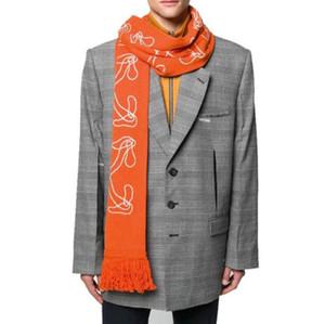 20SS marque à la mode tendance hip hop off écharpe blanche Jacquard flèche polyvalent de tricot d'hiver des hommes et des femmes écharpe 23 * 170cm