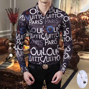 Brand New Harajuku Mens рубашек платья Модельер Повседневная рубашка Мужчины Medusa рубашки Letter Печать Slim Fit рубашки мужские