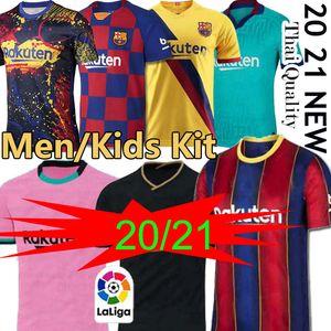 TOP FC BARCELONA كرة القدم جيرسي 2020 2021 camisetas دي فوتبول أنسو FATI 19/20 ميسي GRIEZMANN DE JONG Maillots دي قميص كرة القدم الرجال الاطفال عدة