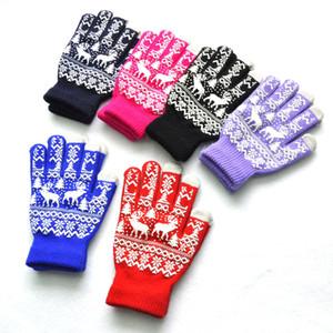 Men's and women's winter warm Plush knitted Five Fingers Gloves Christmas tree elk snowflake offset non slip acrylic gloves