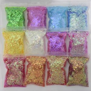 200g / saco Gradiente prego Glitter Laser Sparkly Sequins Adesivos Holographic Paillette 3D Glitter Flake Slice Manicure Dicas Decor *