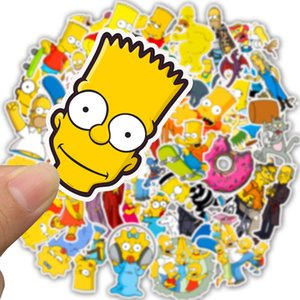 50 PCS Cartoon The Simpsons Stickers para DIY Laptop Equipaje Decoración del coche Anime Sticker to Skateboard Phone Fridge Toy Stickers