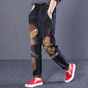 Harajuku Stickerei National Wind Loch Printing Cartoon Jeans-elastische Taille Radish Denim Haremshosen plus Größe Y200417