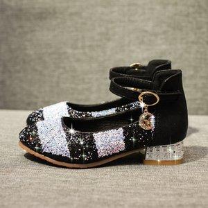 Kids Bows Sandals Shoes Children Heels New Round Crystal Big Virgin Princess Soft Bottom Dance Shoes for Girls JKKJ34