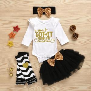 Baby Girl одежда комплект День матери Письмо печати боди тюль юбка блестки бабочка-узел оголовье ноги теплее комплект одежды