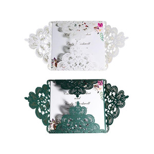 10pc lot Wedding Invitations Elegant Engagement White Hollow Laser Cut Wedding Invitation Card With Ribbon Free Envelope Seals