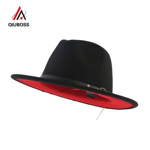 QIUBOSS Siyah Kırmızı Patchwork Yün Caz Fedora Şapkalar Kemer Toka Dekor Bayan Unisex Geniş Brim Panama Trilby Kovboy Cap Sunhat SH190921 Keçe
