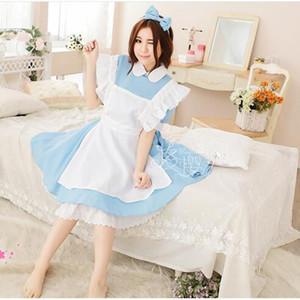 Costume cosplay Lolita Halloween Donne Adulti Alice In Wonderland blu del partito del vestito Alice sogno Donne Sissy domestica
