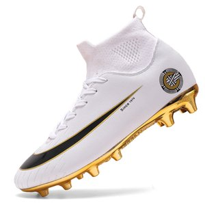 Blanc d'or Hommes football Bottes haute cheville Football Chaussures Femmes Homme doux Groud Football Chaussures Botas De Futbol Chaussettes d'entraînement Crampons