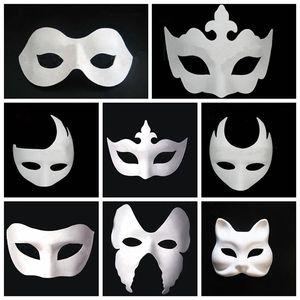 Maquiagem Dança Branco Embryo Mold Pintura Handmade Máscara Pulp Festival coroa Máscara Halloween rosto branco máscara T9I0078