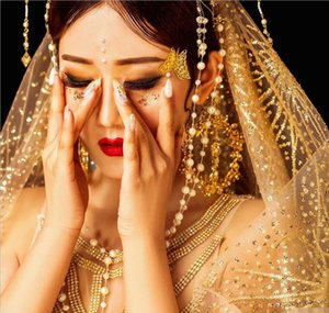 Роскошные золотые блестки свадебная фата один слой собор фата 3 метра свадебные аксессуары вуаль де Марие