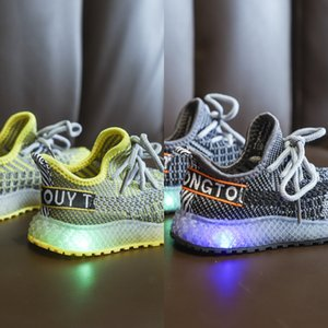 2020LED luminous coconut light male and sneakers children's female children's LED light shoes flying woven breathable sports shoes