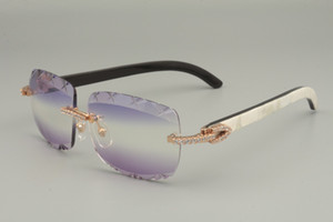 2019 Nouveaux Lunettes de soleil à cornes mélangées naturelles de la meilleure vente, lunettes de soleil de diamants de design uniques 8300756-B Gravure Lens Taille: 56-18-140mm