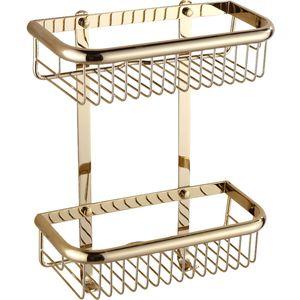 Tuqiu Gold Corner Shelf Soap Dual Tier shelves Brass shampoo basket bathroom Holder Y200407