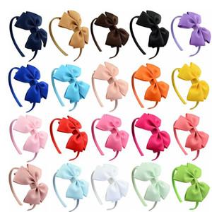 20pcs / Lot Твердой Grosgrain лента луки Hairbands волос обруч Пластиковой стяжка девушка Bands Elastic волос Boutique Аксессуары для волос