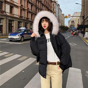Lucyever 2019 Winterjacke Frauen Mode Pelzkragen Warm feste Kapuze Parka Frau auf einfache beiläufige lange Hülsen-Baumwollmantel Damen