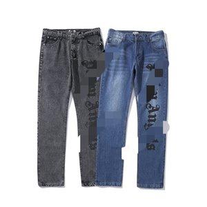 pantalons denim européens et américains PALM Anges lettres imprimées lettres PA pantalon denim loose casual pour les hommes et les femmes
