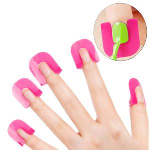 26pcs / set Forma de uña en forma de U Reutilizable para uñas de gel Esmalte de uñas Barniz Curva protectora para uñas naturales Cubierta de dedos a prueba de derrames