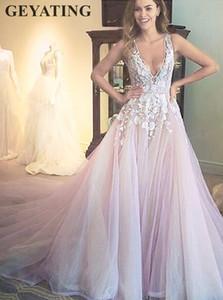 Sexy col V profond dos ouvert Robe de Mariée 2019 coloré Lilas Cour Tulle train dentelle Light Purple Fée Appliques Robes de mariée