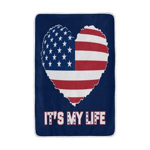 American Flag Love Heart Blanket weiche warme gemütliche Bed Couch Leichte Polyester Mikrofaser-Decke für Kinder Frauen, Jungen,