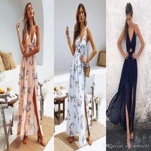 Backless elbise Bayanlar Casual Çiçek Baskılı V Yaka Elbise Kadınlar Bandaj Bölünmüş Elbiseler Yaz Uzun Bohemian