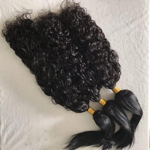 Raw Indian Virgin Hair Weaves Water Wave &Straight Braid In Human Hair Bundles No Tangle Fdshine