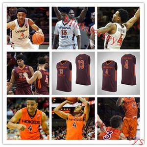 Los hombres de Virginia Tech Hokies personalizada camiseta de baloncesto Nickeil Alexander Walker-Justin Robinson Jonathan Kabongo Ahmed colina de Virginia Tech Jersey