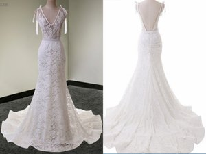 Sexy See Through Top Wedding Dresses Mermaid Lace Bodice Court Train V neck Open back Cheap Wedding Dress Bridal Gowns Cheap