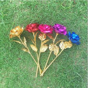 24k chapado en hoja de oro rosa de flores artificiales del Día de San Valentín rosas presentes permanentemente preservados para la boda regalo del día de Navidad de los Enamorados