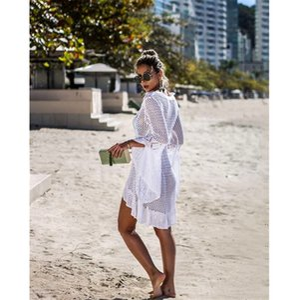 Womens Designer Summer Beach Smock trompette manches mode coupe-circuit Knitting Sun shirt Ladys plage extérieur Vêtements respirant Chemisier