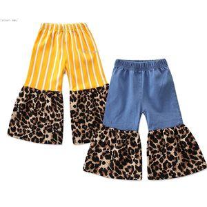 Kleinkind-Baby-Hosen-gelbe gestreifte Stitching Plissee Falten Leopard Hose mit weitem Bein Hosen Denim Blue Leopard Schlaghose 2-7T