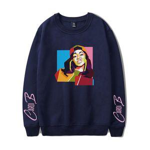 Cardi B цифровой печати Кофты Дамы Мода Красочные Длинные рукава O шеи женщин толстовки дизайнер женской одежды